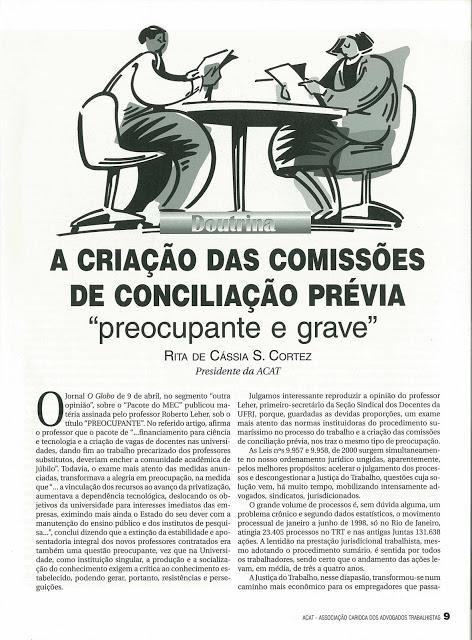 """Há mais de 10 anos, a criação de """"Comissões de Conciliação Prévia"""" já preocupavam advogados"""