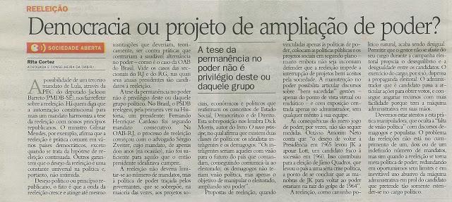 Rita Cortez publica na editoria Sociedade Aberta, do antigo Jb Impresso – Artigo sobre a permanência no poder