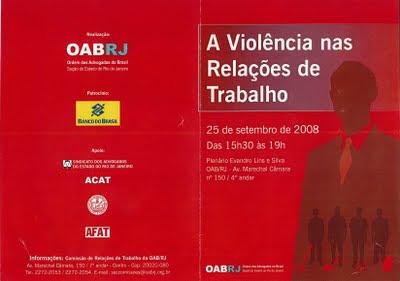 Advogada Rita Cortez participa de evento sobre a Violência nas Relações de Trabalho na OAB-RJ, em 2008 – veja a programação