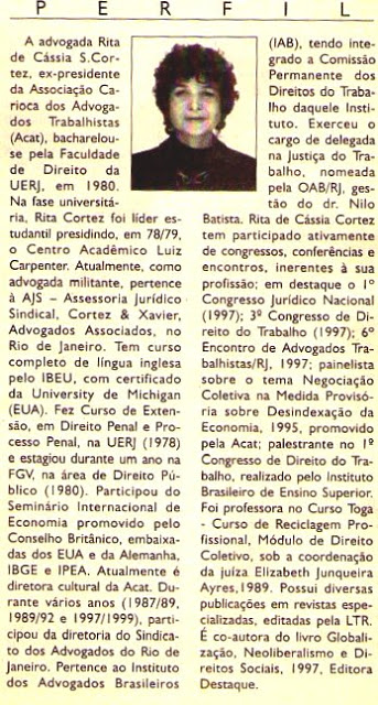 Perfil de Rita Cortez – publicado no Jornal do Commércio – ano 2001