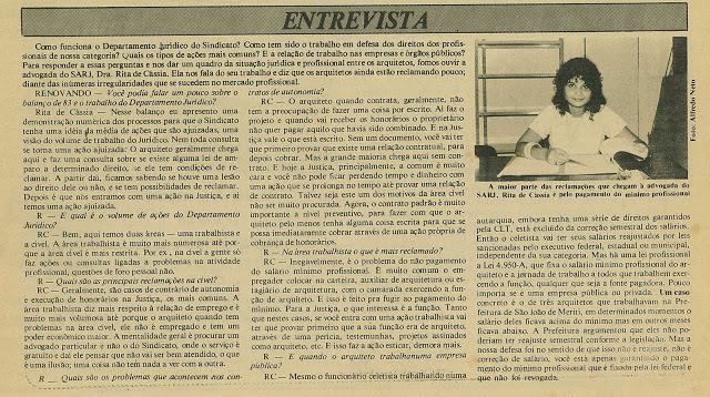 Rita Cortez comenta soluções para o mercado de trabalho dos arquitetos em fevereiro de 1984