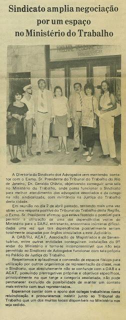 Rita Cortez entre os profissionais que trabalharam em prol do Sindicato dos Advogados