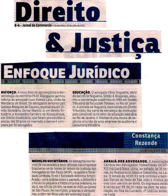 Coluna do Jornal do Commércio noticia o Arraial da ACAT, neste sábado, dia 28, às 16h, na Lapa