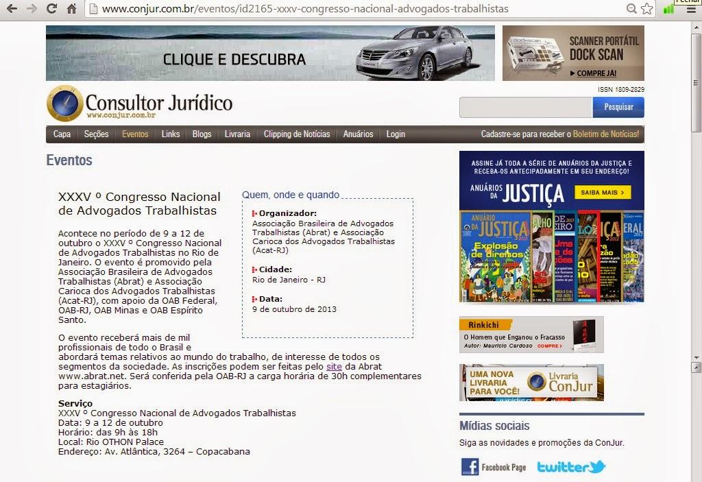 O site Consultor Jurídico também noticiou o 35º CONAT. Confira!