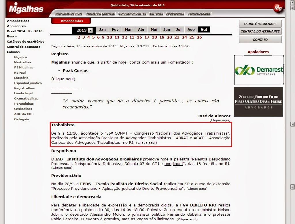 """Saiu no Migalhas: De 9 a 12/10, acontece o """"35º CONAT – Congresso Nacional dos Advogados Trabalhistas"""""""