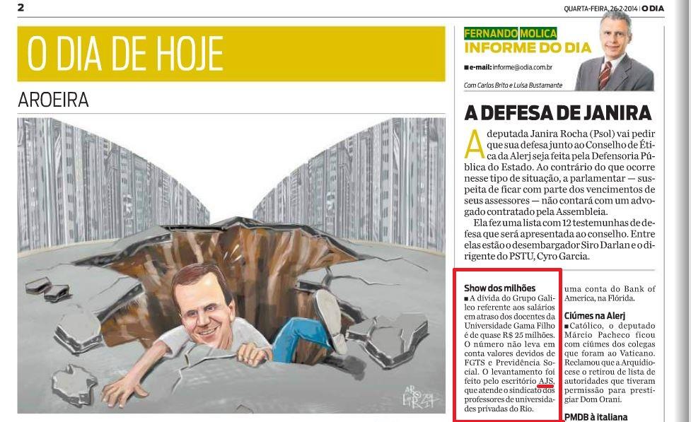 Nota de Fernando Molica sobre a dívida do Grupo Galileo – Jornal O Dia