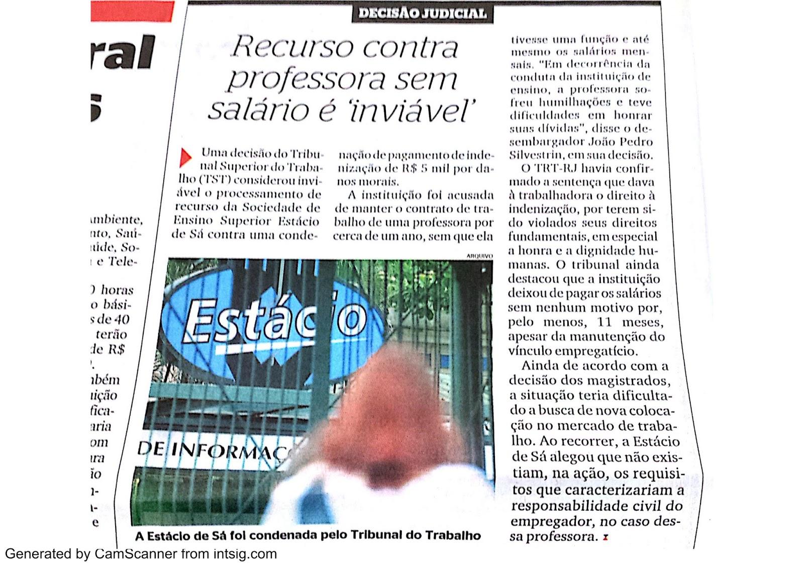 Saiu no jornal Extra: Vitória da AJS