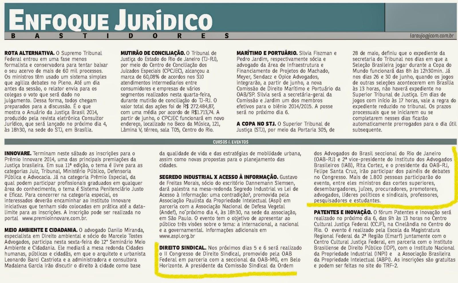 """O Jornal do Commércio noticiou a participação de Rita Cortez no """"2º Congresso Nacional de Direito Sindical"""". Veja!"""