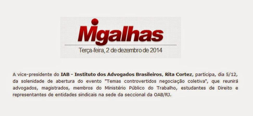 O Portal Migalhas noticia o ciclo de palestras sobre Negociação Coletiva amanhã, na OAB-RJ. Confira.