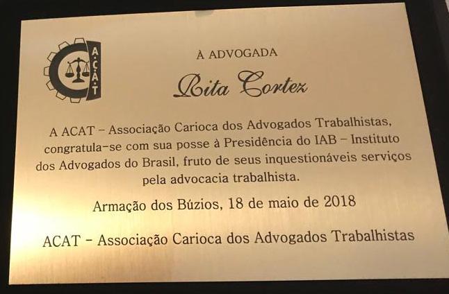 Rita Cortez é homenageada e integra mesa de honra na abertura de evento da Acat