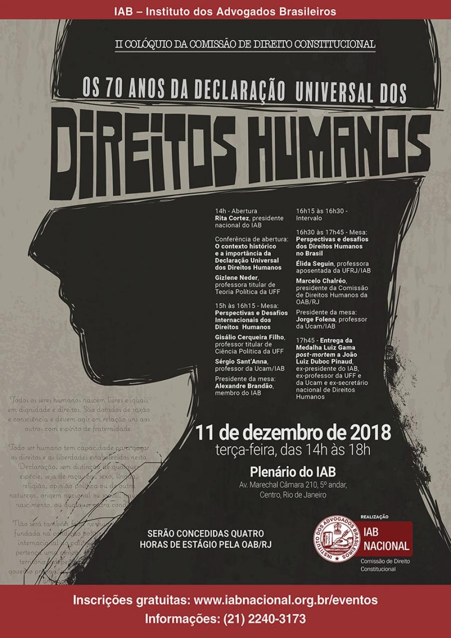 """""""II Colóquio da Comissão de Direito Constitucional – Os 70 Anos da Declaração Universal dos Direitos Humanos"""" será aberto por Rita Cortez"""