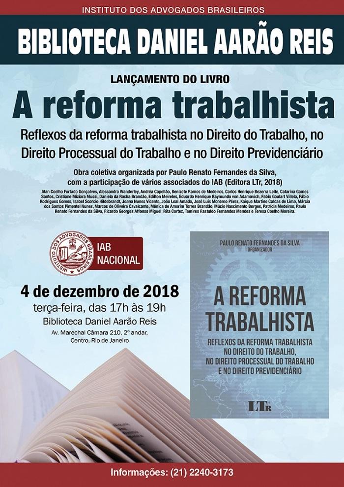 Lançamento de livro sobre a reforma trabalhista, com artigo de Rita Cortez, será nesta terça-feira (4/12)