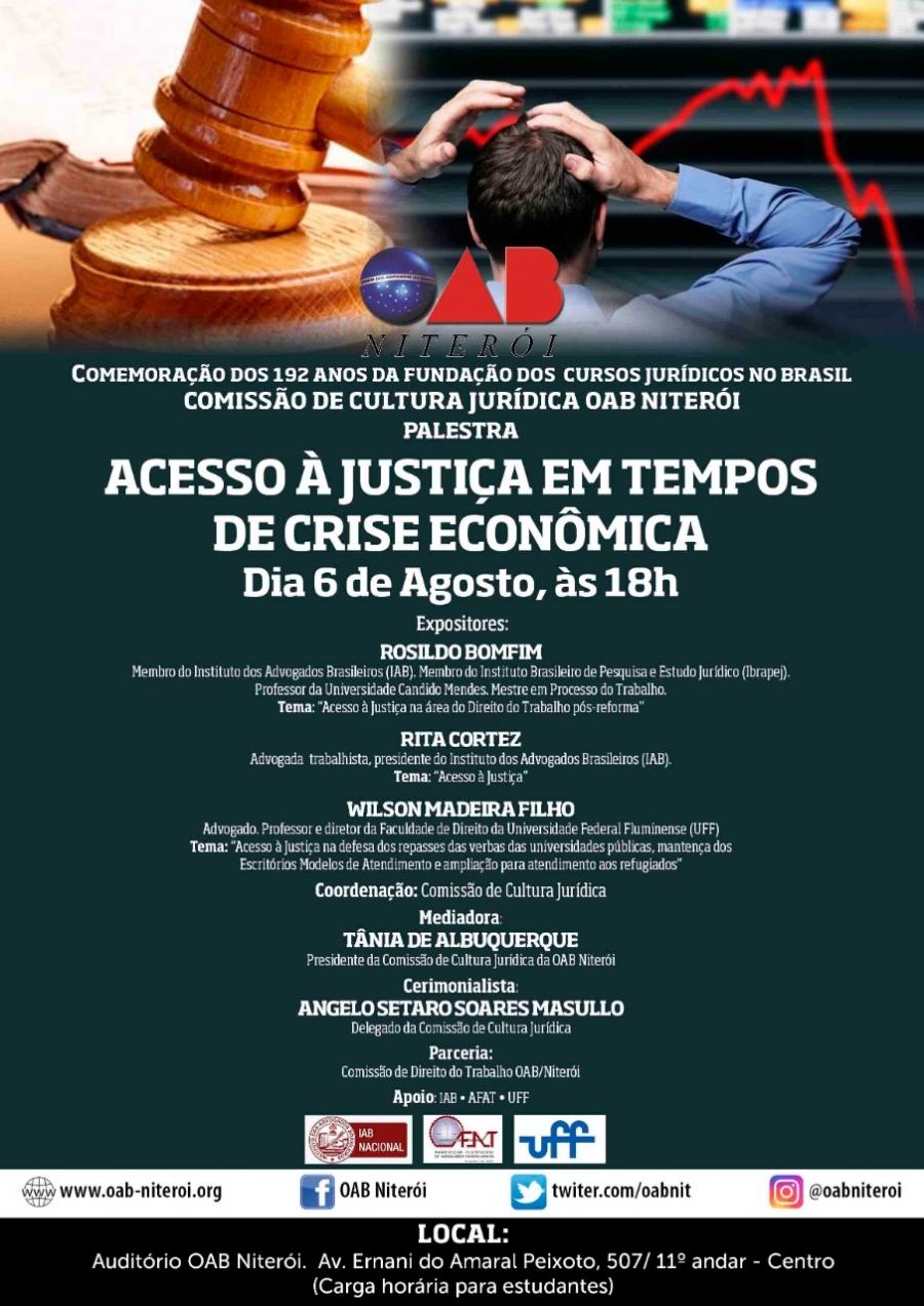 """Palestra """"Acesso à Justiça em Tempos de Crise Econômica"""" terá participação de Rita Cortez"""
