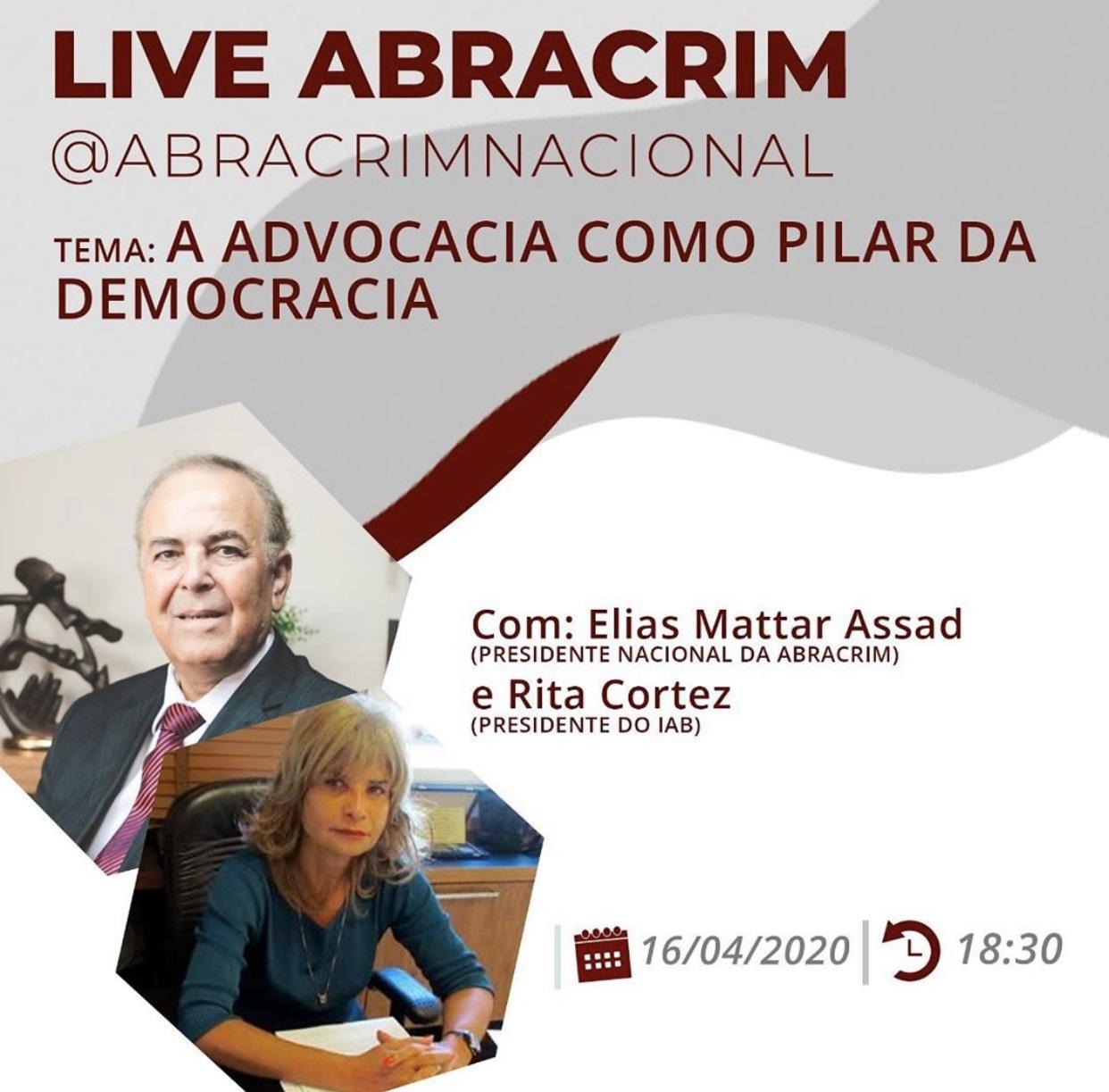 Rita Cortez participa de live com o presidente da Abracrim, nesta quinta (16/4), às 18h30