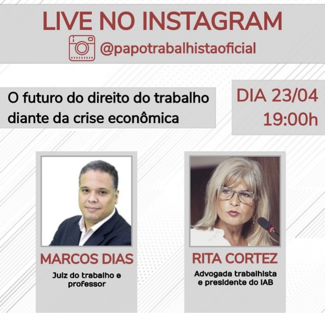 """Rita Cortez faz live no Instagram sobre """"O futuro do direito do trabalho diante da crise econômica"""", nesta quinta (23/4)"""