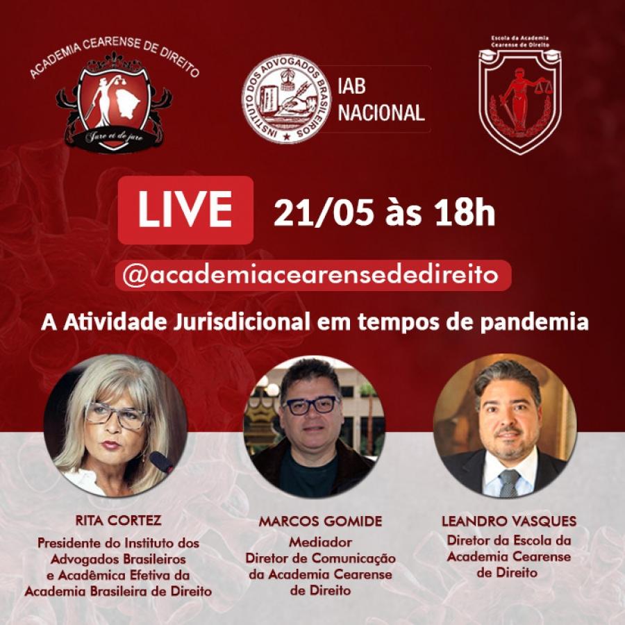 Live no Instagram da Academia Cearense de Direito terá participação de Rita Cortez nesta quinta-feira (21)