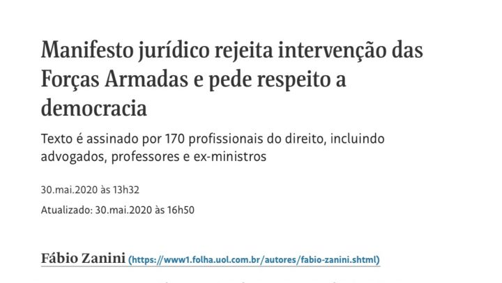 Rita Cortez e mais 169 juristas assinam manifesto que rejeita intervenção das Forças Armadas e pede respeito a democracia
