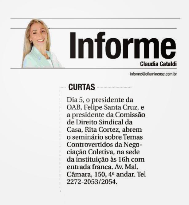 A Colunista Claudia Cataldi, de O Fluminense, publica em sua coluna o ciclo de palestras organizado por Rita Cortez, como Diretora da CEDS da OAB-RJ
