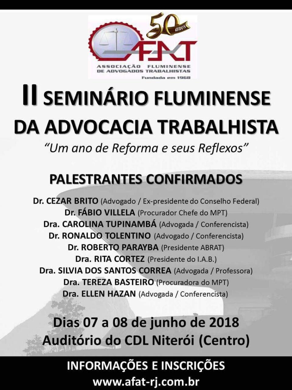 """Rita Cortez será uma das palestrantes do II SEMINÁRIO FLUMINENSE DA ADVOCACIA TRABALHISTA – """"Um ano de Reforma e seus reflexos"""""""