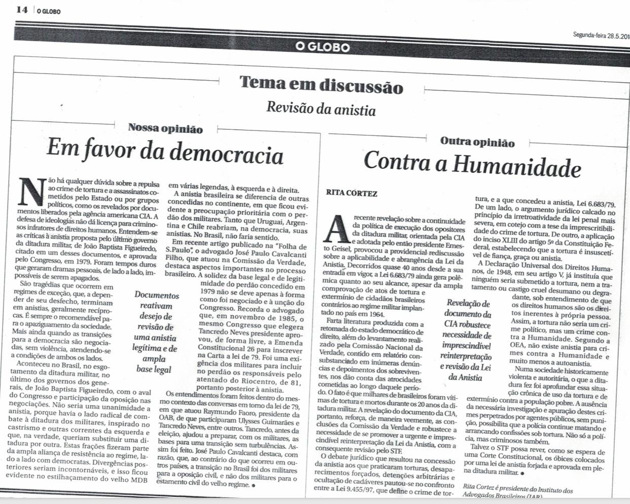 O Globo publica artigo de Rita Cortez sobre a Revisão da Anistia