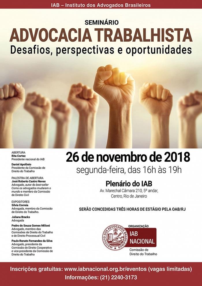 Seminário sobre Advocacia Trabalhista – desafios, perspectivas e oportunidades, será aberto por Rita Cortez