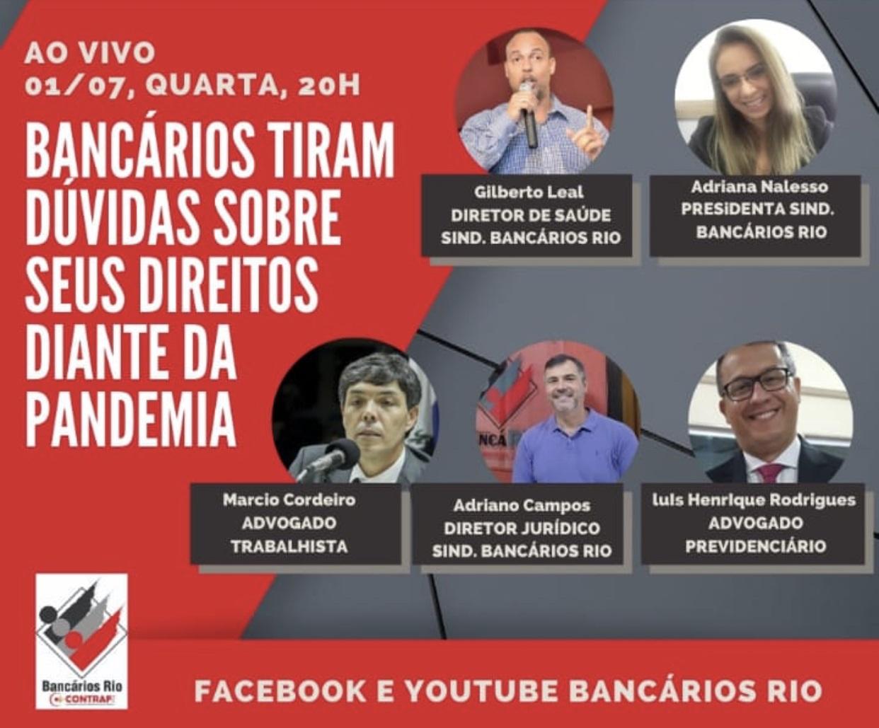 Marcio Cordero participa de Live onde bancários tirarão dúvidas sobre seus direitos diante a pandemia
