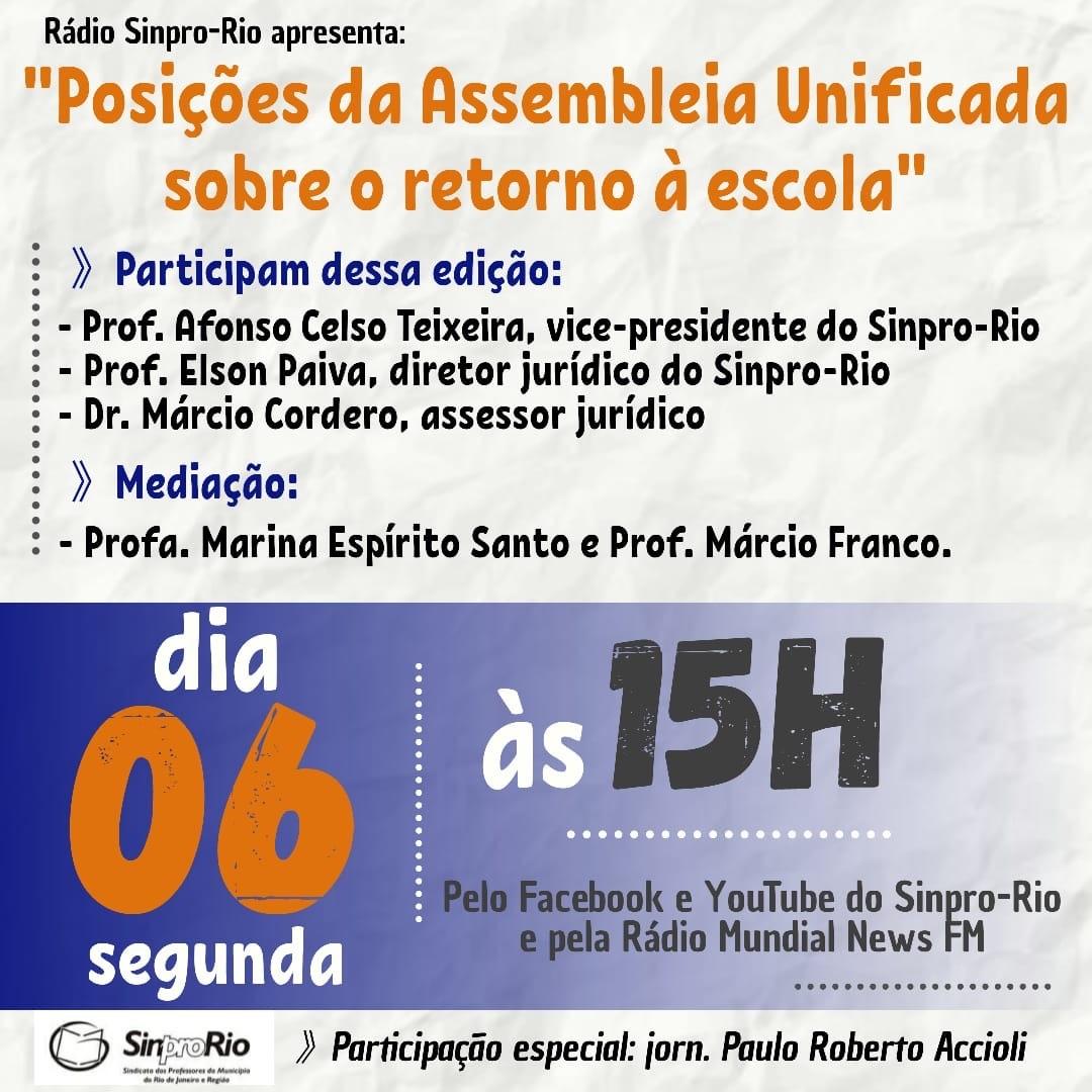 Marcio Cordero participa de Live promovida pela Rádio Sinpro-Rio nesta segunda-feira, dia 6/7